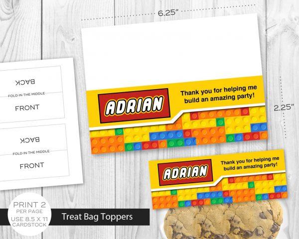 lego building blocks party favor bag topper
