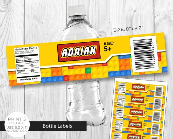 lego building blocks water bottle label