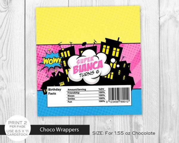 Printable Girl Superhero Chocolate Label Wrapper