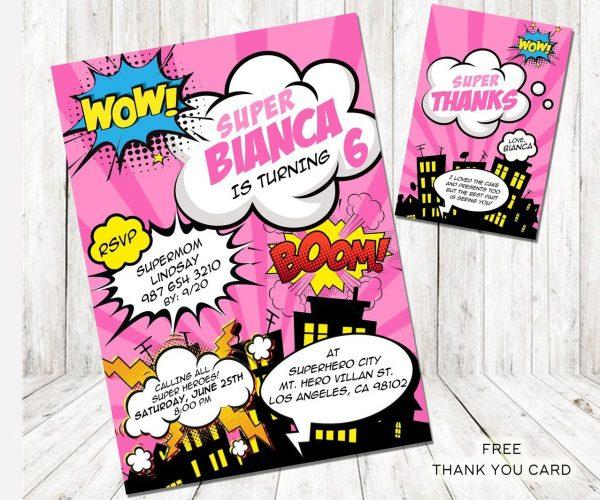Girl Superhero Birthday Invitation