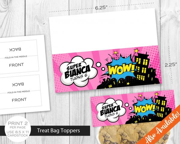 Printable Girl Superhero Chocolate Party Favor Bag Toppers Labels