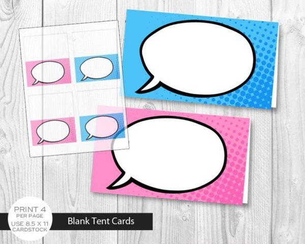 Printable Girl Superhero Blank Tent Cards