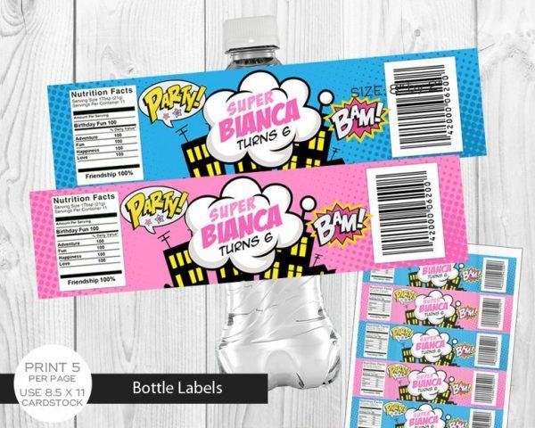Printable Girl Superhero Water Bottle Labels