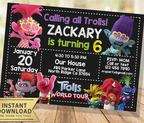 Editable Trolls World Tour Invitation
